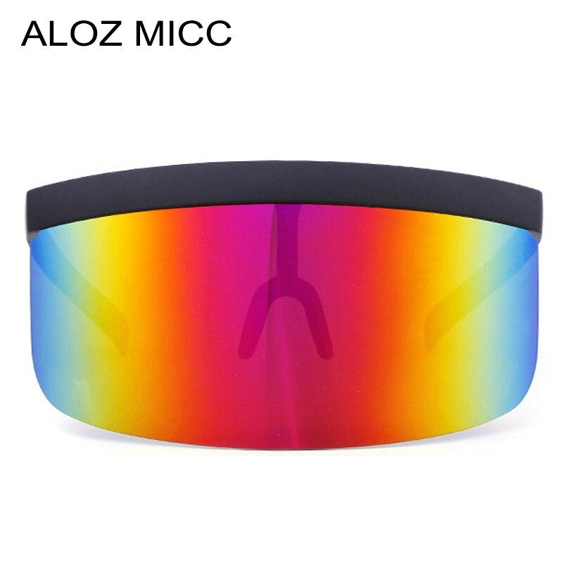ALOZ MICC Femmes Oversize Bouclier Visière lunettes de Soleil Femmes Rétro Coupe-Vent Lunettes Hommes Bouclier Visière Plat Top Capot Lunettes Q439