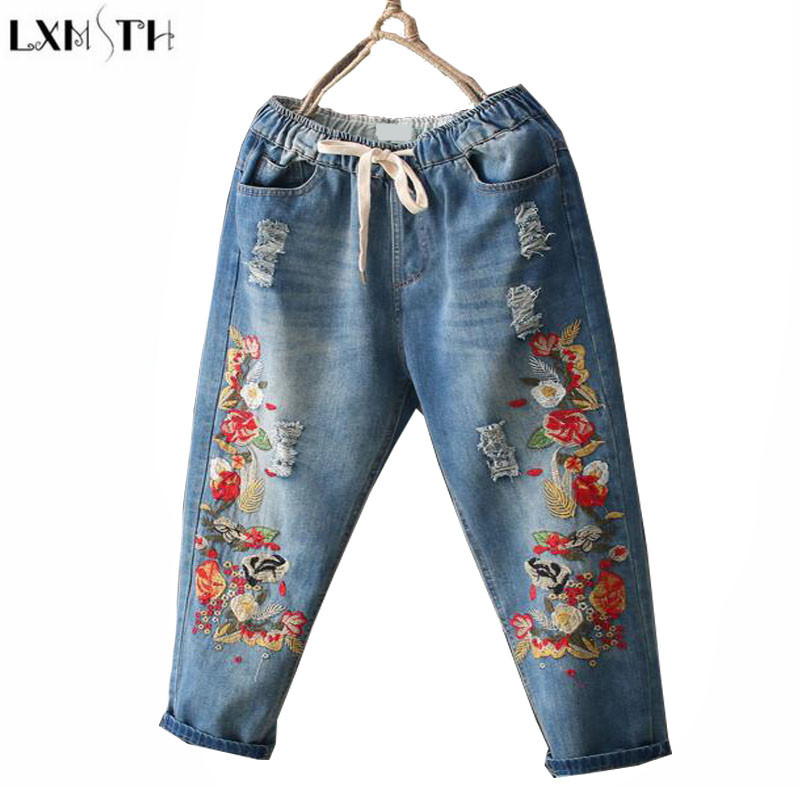 LXMSTH National Vintage Embroidered jeans Women  Thin Ankle-length Pants Casual Loose Haren Denim Pants Light Blue