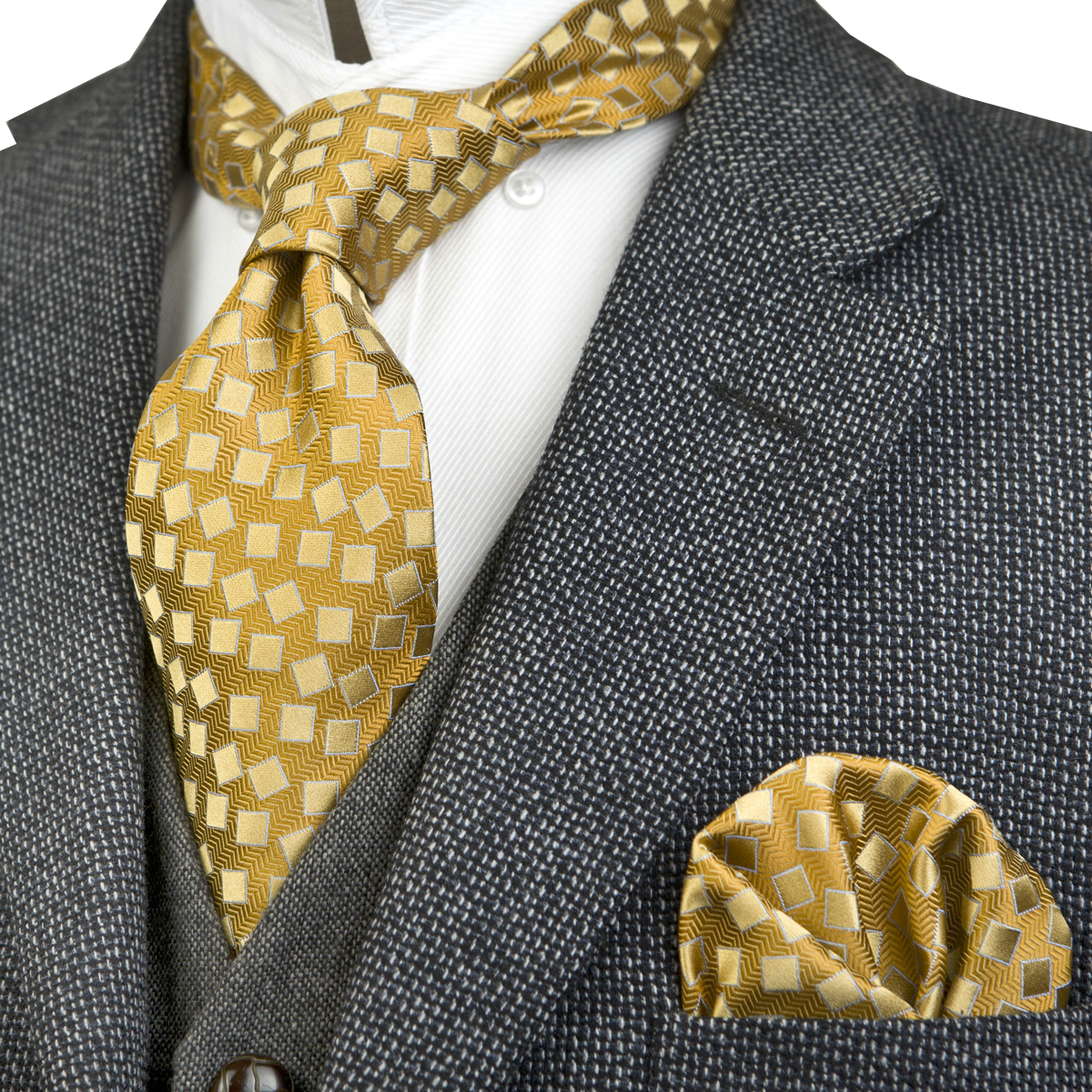 Checked Geometric Dots Brown Gold Yellow Champagne Black Gray Grey Silver Mens Ties Necktie 100% Silk Handkerchief Free Shipping