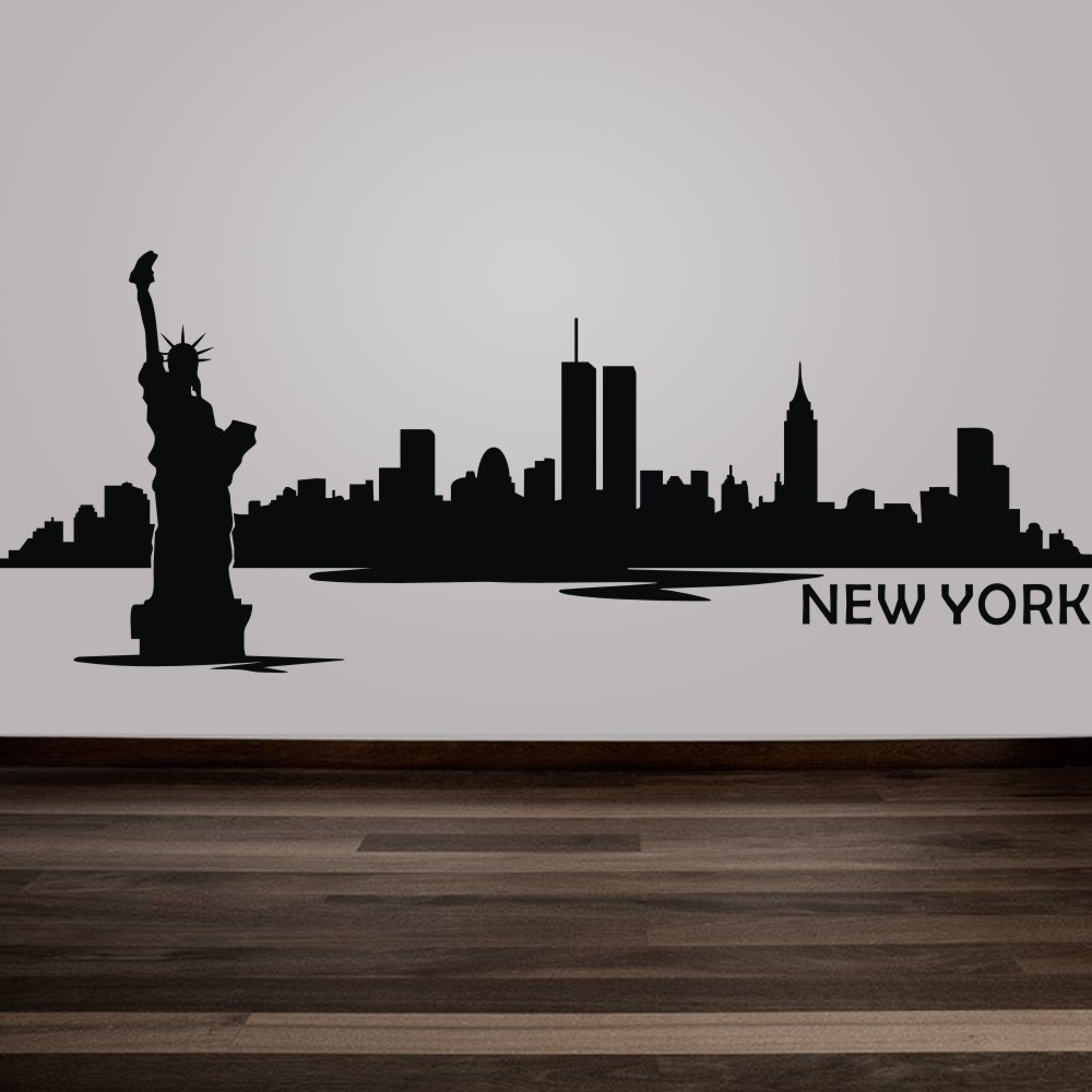 New york city skyline silhouette wall decal custom vinyl art stickers the big apple home decoration wall decor mural 9h x24w in wall stickers from home
