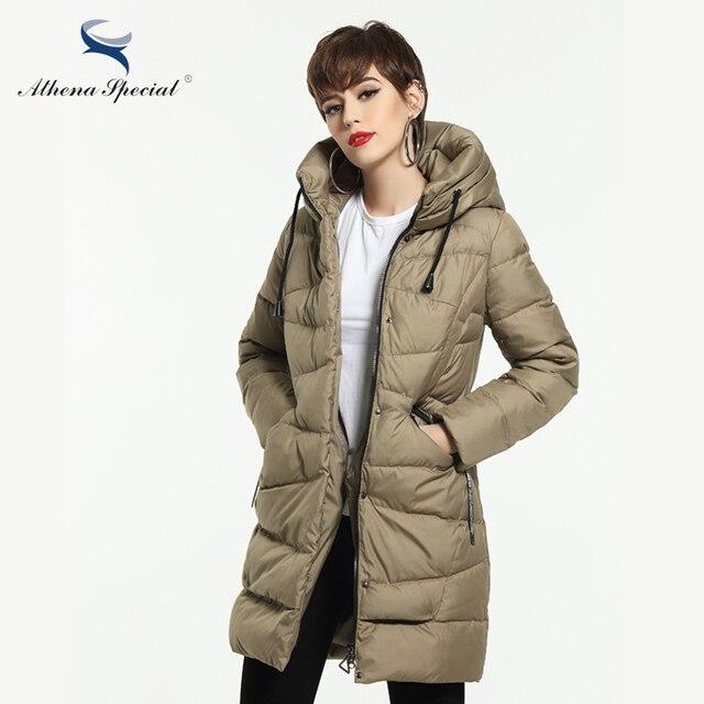US $198.0 |Athena Spezielle 2018 Neue Frauen Wintermantel Warme Winter Dicke Kapuze Parka Frauen Bio Daunenjacke Weiblichen Mantel Qualität in Athena