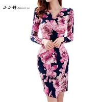 Small Su Auntmn Womens Red Print Dresses Long Sleeve Vneck Bandage Bodycon Sexy Party Midi Dress 2017 Vestidos Be Festa Mujer