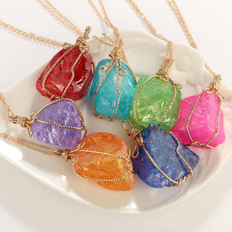 Fashion Charm Resin Stone Pendant Women Necklace Jewelry Gold Color Chain Sweather Necklace Bijoux Wedding Party Jewelry Gift