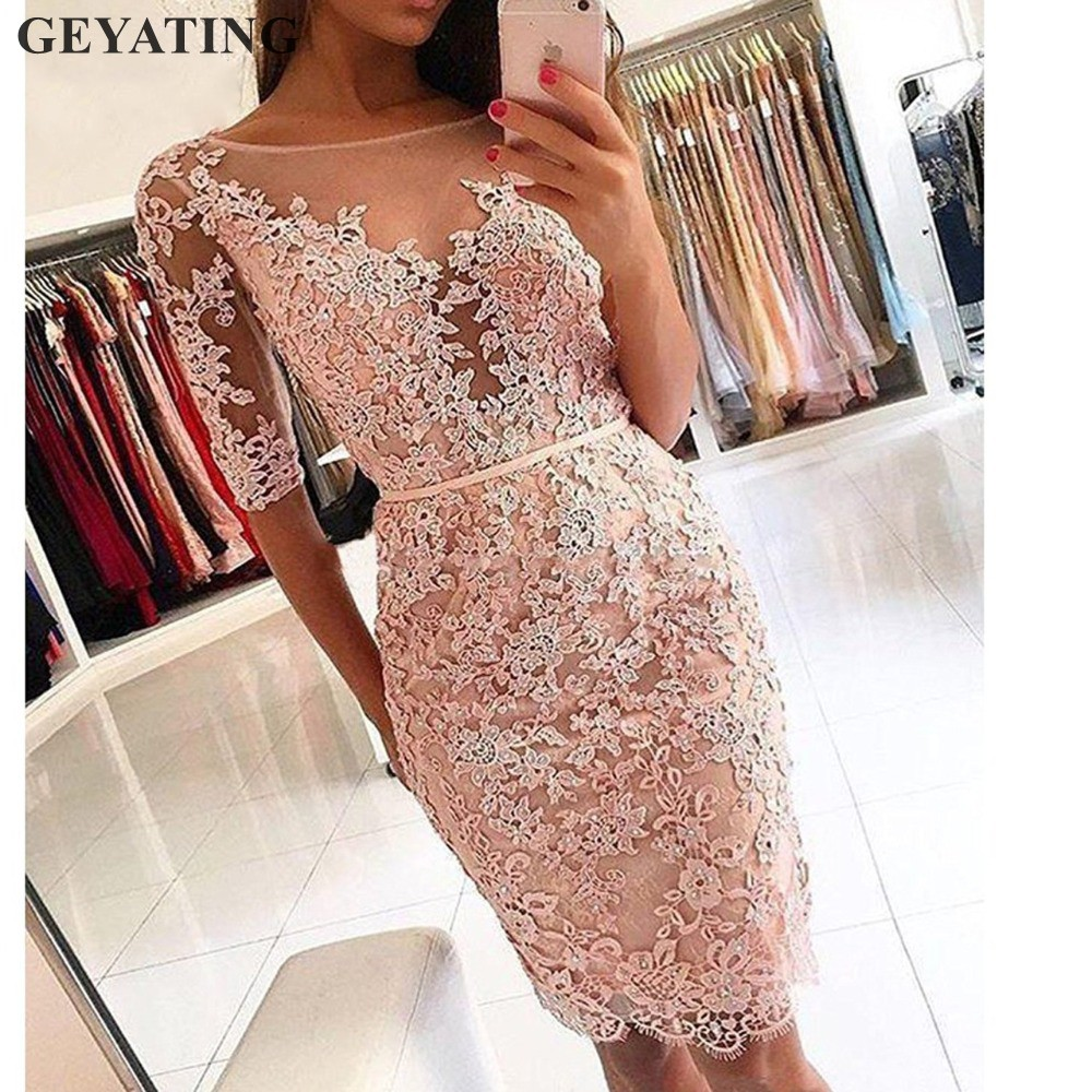 Elegant Knee Length Pink Short   Cocktail     Dresses   2019 Red Lace Beaded Half Sleeves Formal Party   Dress   Robe De   Cocktail   Prom Gowns