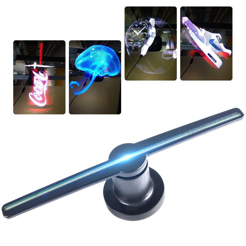 3D Hologram Projector Lamp Fan Commercial Display advertising logo lighting  3D Naked Eye LED Fan light Support Custom Logo