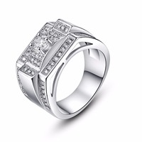 Vintage Unique Design CZ Stone Ring Wedding Band Silver Rings Male Jewelry For Men Women Classic