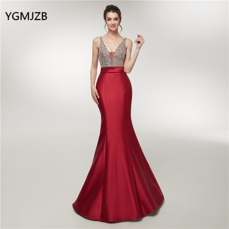 Vestidos Satin Long   Prom     Dresses   Elegant 2018 Mermaid Beaded Crystal Top Backless Formal Evening   Dress   Party Gown Robe De Soiree