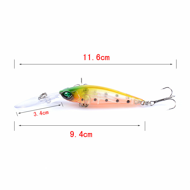 Image 5 - 6 Pcs Fishing Lure Crankbait Minnow Wobblers 6 Colors Hard Bait Fishing Tackle 3D eyes Isca Artificial Pesca 94mm 6.2g-in Fishing Lures from Sports & Entertainment