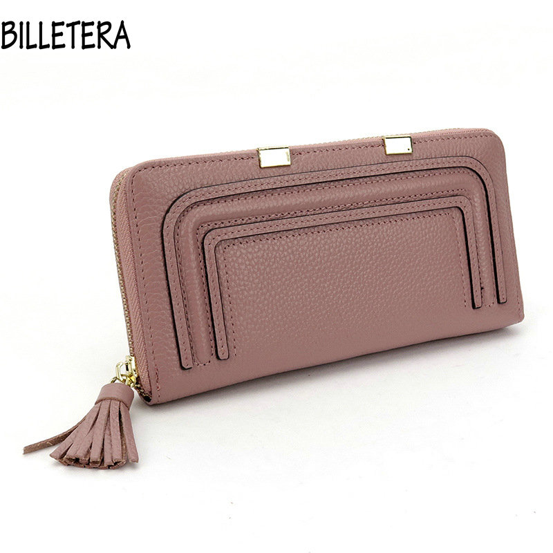 Leather Women's Wallets Long Design Genuine Coin Purses Lady Tassel Day Clutch Credit Card Holders Solid Candy Color