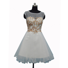 Real Photo Tulle Fabric Crystal Beaded Homecoming Dresses Scoop Neck Mini Graduation Dress Formal Prom Ball Gown Ivory