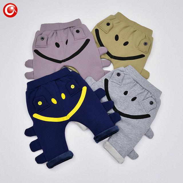 2016 Inverno Engrossar Bebê Meninas Calças Plushed 3D Animais Crianças Sorriso Calças Justas Calças Para Meninos de 7-24 M Infantil Roupas de Bebes