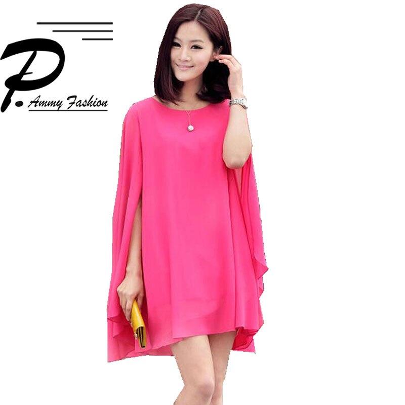 S~4XL Chiffon Mini Dress Spring Summer womens solid Color Cloak Sleeves plus size Elegant beach dress Vestidos High Quality