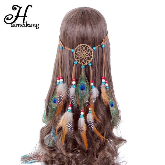 Haimeikang Bohemian Hippie Headband Dream Catcher Feather Headdress