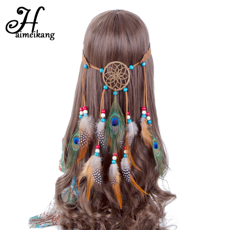 Beads & Jewelry Making Jewelry & Accessories Flight Tracker Western Bohemia Peacock Feather Hair Band Hippie Folk Style Indian Hair Fringed Hair Headdress
