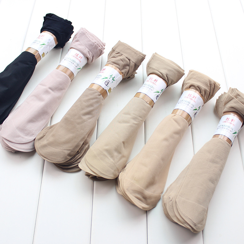 10 Pairs/ Lot Summer Style Silk Socks Women Wholesale Price Cool Feeling Solid Color Breathable Sexy Skin Sock Free Shipping