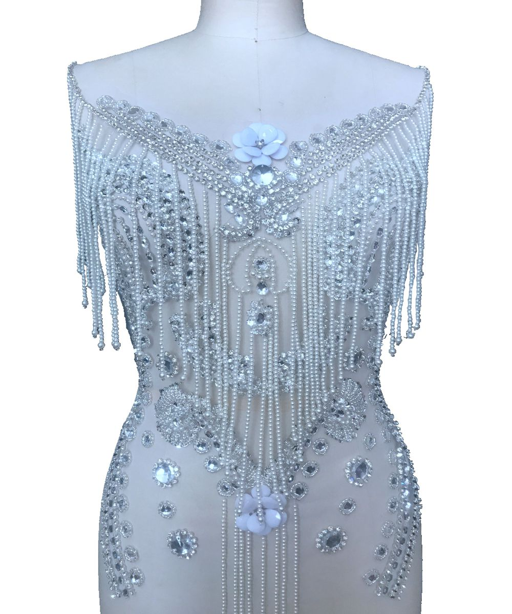 Pure hand made sew on silver ivory Rhinestones applique on mesh shining crystals patches trim 57