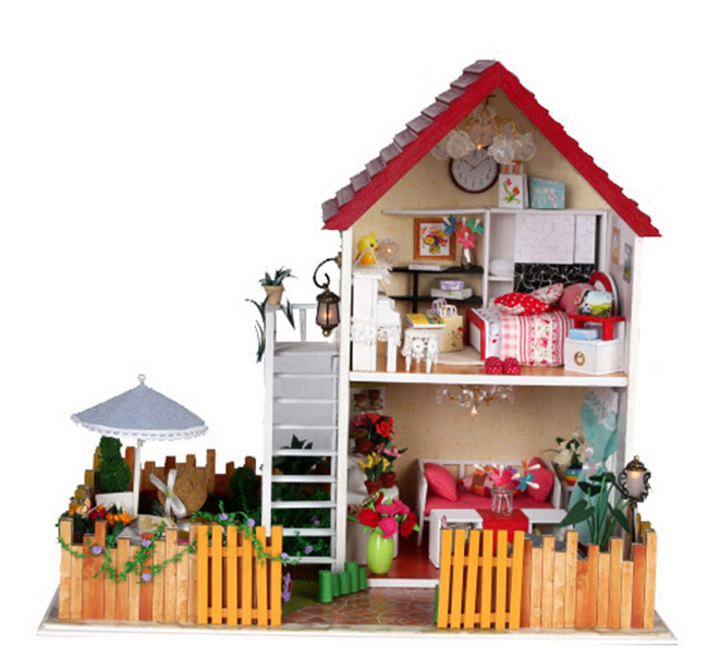 13828 garden wooden dollhouse large villa diy wooding doll house miniature with voice light dolls for girls free shipping d030 diy mini villa model large wooden doll house miniature furniture 3d wooden puzzle building model