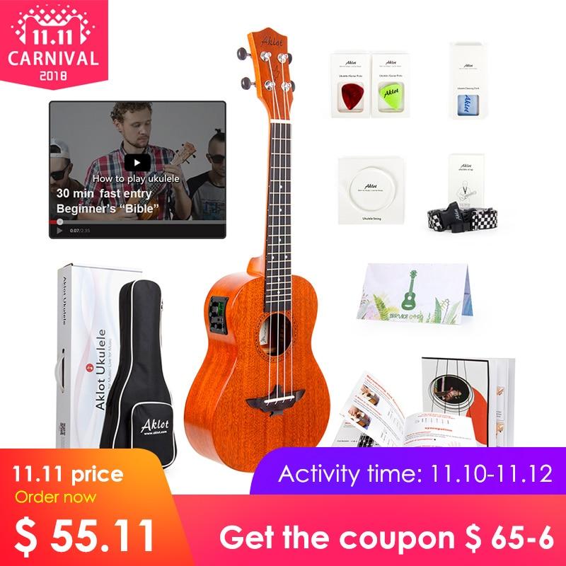 Aklot Electric Ukulele Solid Mahogany w/ Online Video Ukelele Soprano Concert Tenor Uke 4 String Guitar with Strap String Tuner палантин venera venera ve003gwaduy7
