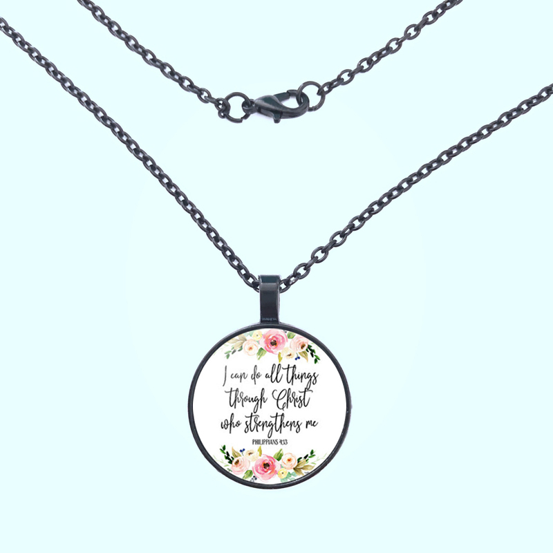 2019 Philippians 4 13 I can do all things through Christ Bible Verse Inspirational Jewelry Christian Gifts Pendant Necklace in Pendant Necklaces from Jewelry Accessories