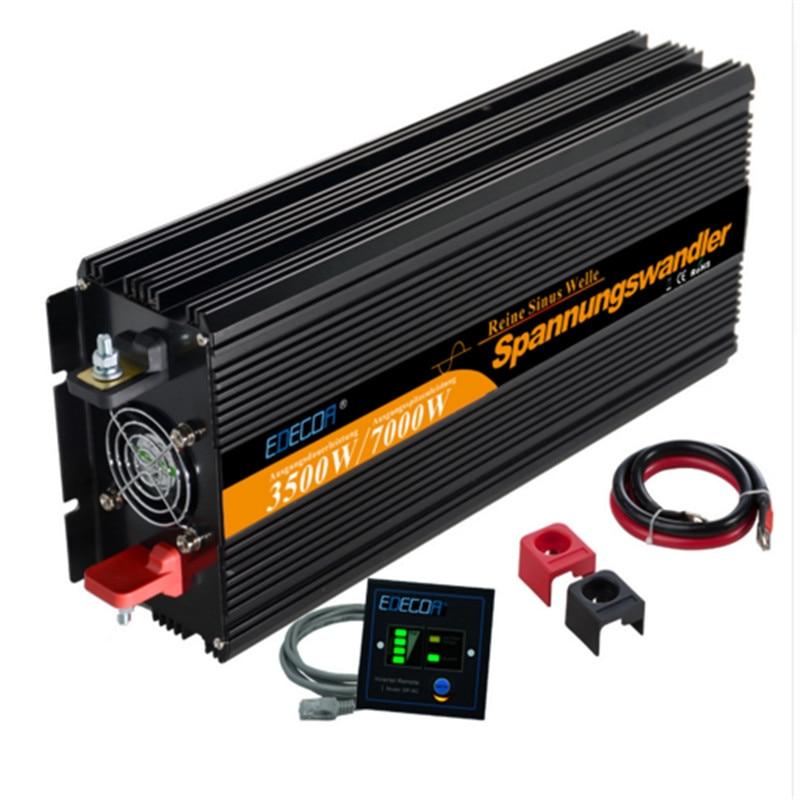 EDECOA чистая синусоида питания солнечный инвертор 12 В 3500 Вт/7000 Вт пик ac dc инвертор бесплатная доставка