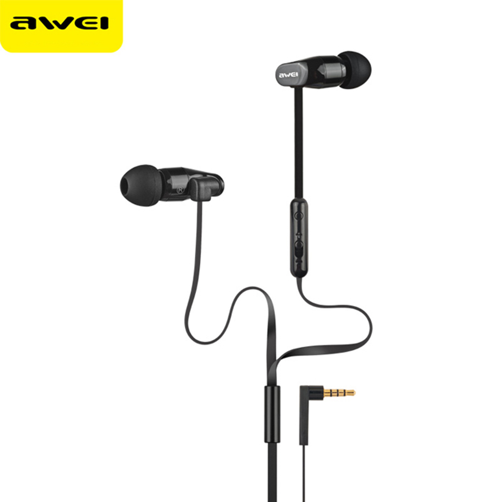 Awei ES-12Hi In-Ear Two-Channel Stereo Earphones Built-In Mic On-Cord Control 0.006mm Ultrathin Diaphragm Microphone Earbuds