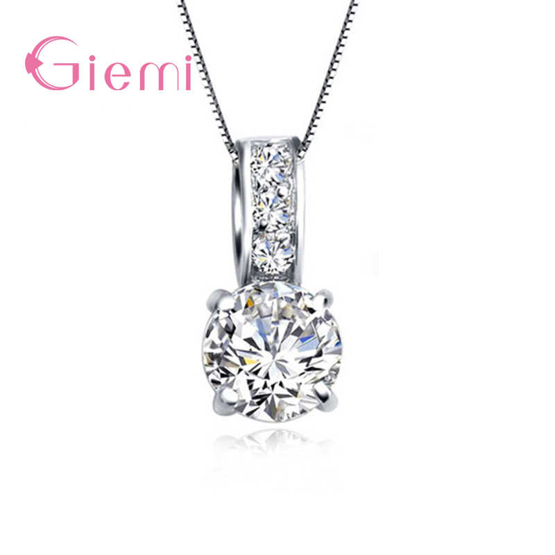 Honey Sweet Round Crystals Filled Elegance Pendent Necklace 925 Sterling Silver Clean CZ For Woman Lady Gift Wholesale