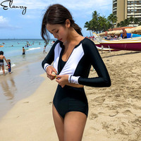 2019 Women Sport Swimsuit Long Sleeves High Waisted Swimwear 3 Pieces Ladies Surfing Suits Maillot De Bain Femme Sexy Beach Wear