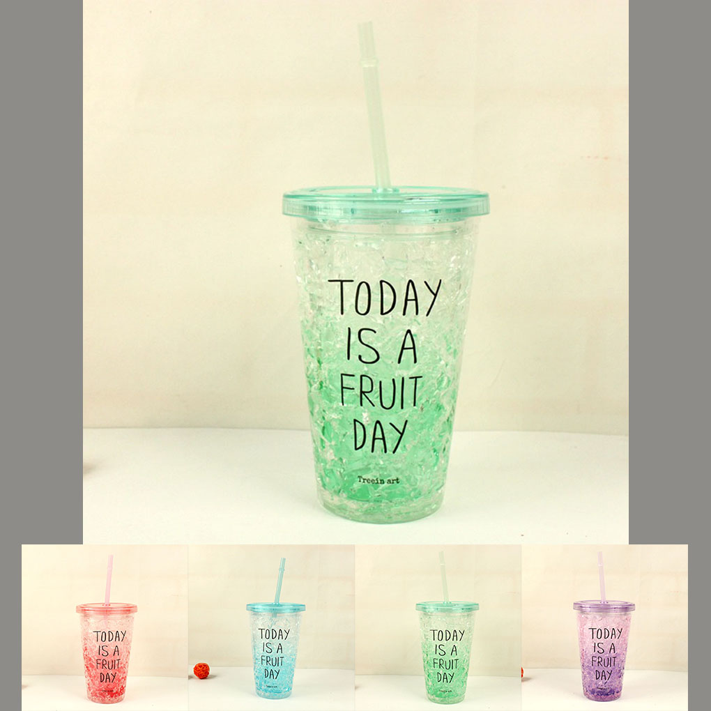 Eco Friendly 450ml Summer Plastic Straw Ice Bottles Lemon Juice ...
