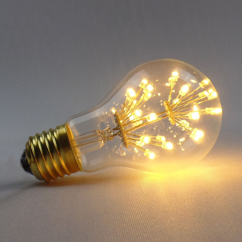 High Quality vintage A19 Fireworks LED edison light bulb - flower led lamp - decor your home warm white stars bulbs low power consumption and high illumination e14 2w edison style cob led lamp bulbs light warm pure white 110 220v