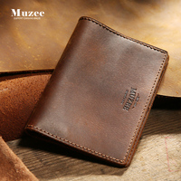 Muzee New Crazy Horse Leather Men Wallet Leather Handmade Tickets Youth Leather Wallet Business Wallet