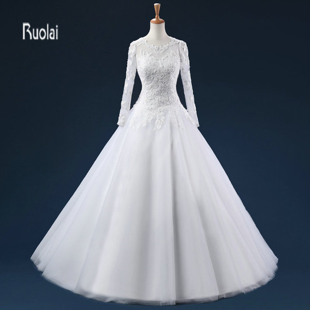 New Charming Long Sleeves Lace Applique Tulle Ball Gown Formal Wedding Dresses Custom Made Bridal
