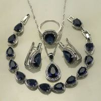 Water Drop Blue Sapphire White Topaz 925 Sterling Silver Jewelry Sets For Women Wedding Earring Pendant