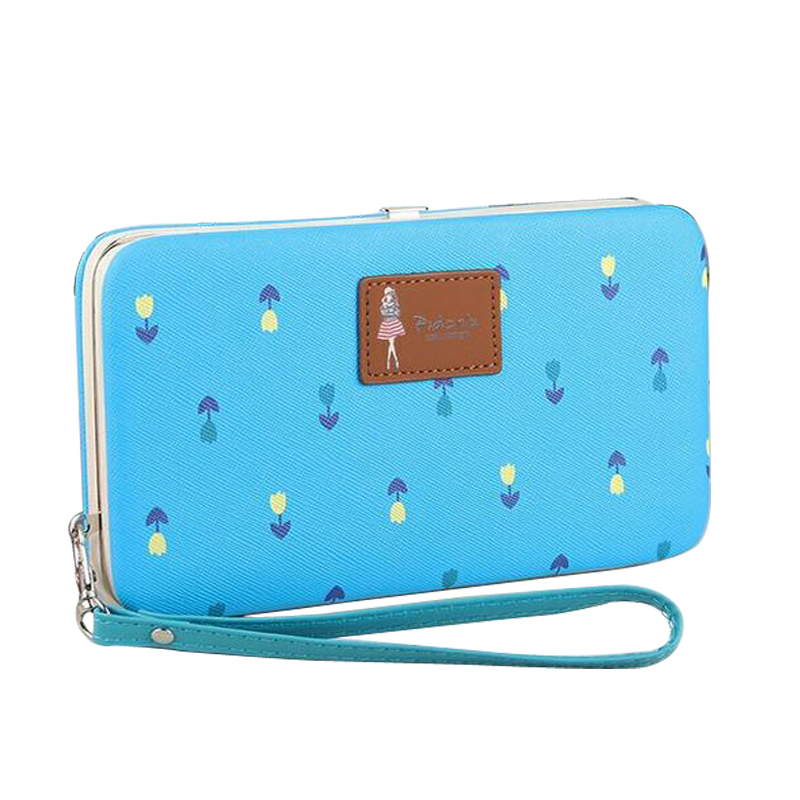 Cute Flower Printing Long Women Clutch Wallet Leather Lunch Box Design Wallet Fashion Ladies Handy Bag Wristlet Coin Card Holder