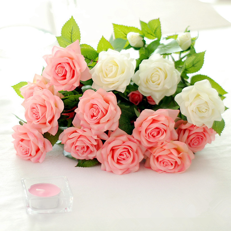 인공 라텍스 장미 꽃 결혼식 진짜 터치 꽃 장미 홈 장식 결혼식 파티 용품
