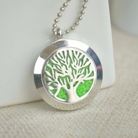 Kabbalah Tree Of Life Green Glow In The Dark Floating Locket Stainless Steel Chain Statement Necklace