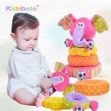 Oyuncaklar Yenidoğan Çocuk Eğitici bebek oyuncakları Yumuşak Peluş Cep Çıngıraklar Oyuncaklar Kidsbele Fil İstifleme bebek oyuncakları Handbell