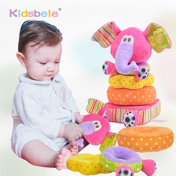 Lodra për fëmijë të porsalindur lodra edukative për foshnje butë prej pelushi të lëvizshëm lodra tronditëse elefant duke grumbulluar lodra për fëmijë zile dore