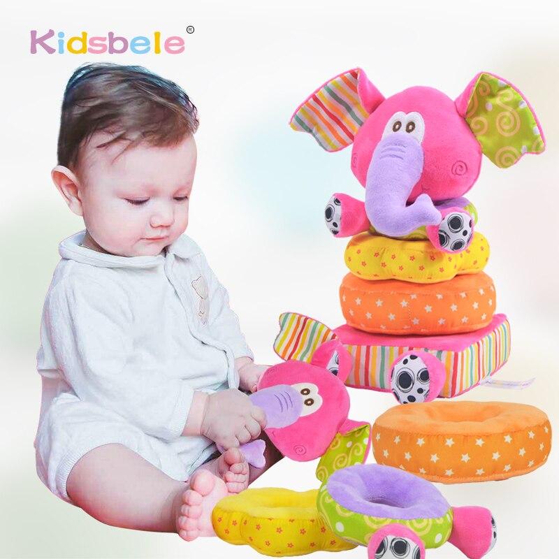 Toys For Newborn Children Educational Baby Toys Soft Plush Mobile Rattles Toys Kidsbele Elephant Stacking Baby Toys Handbell(China)