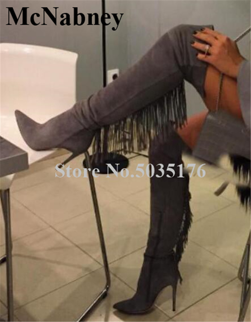 European Women Sexy Flock Fringe Pointed Toe High Stiletto Heels Over Knee Western Boots Zip Slim Gray Long Boots Women ShoesEuropean Women Sexy Flock Fringe Pointed Toe High Stiletto Heels Over Knee Western Boots Zip Slim Gray Long Boots Women Shoes