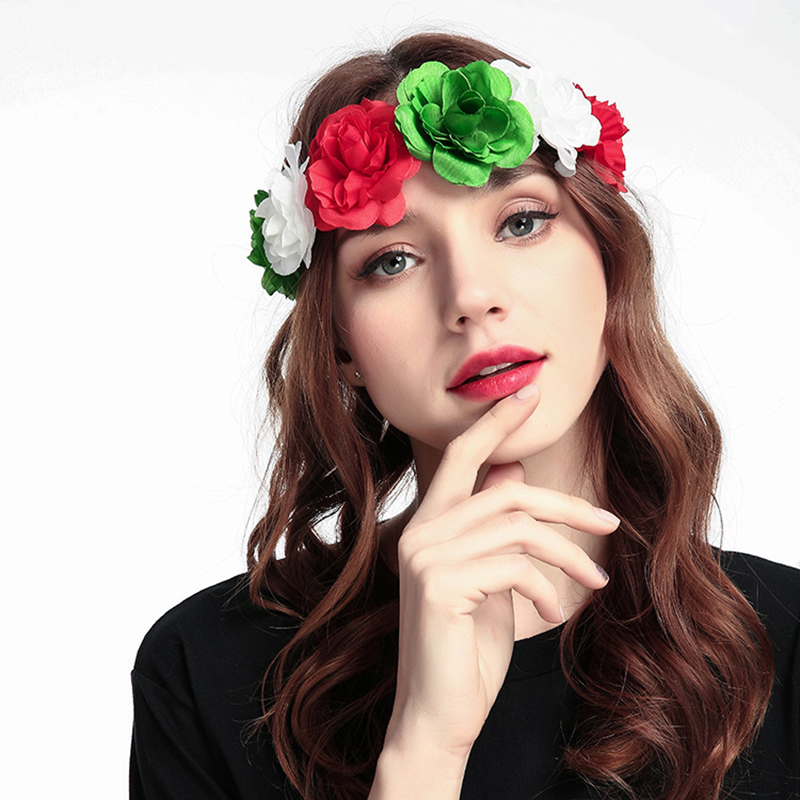 Woman Flower Wreath Silk Artificial Flower Hair Accessories Rose Headband Woman Bohemian Floral Garland Hairbands Festival gift