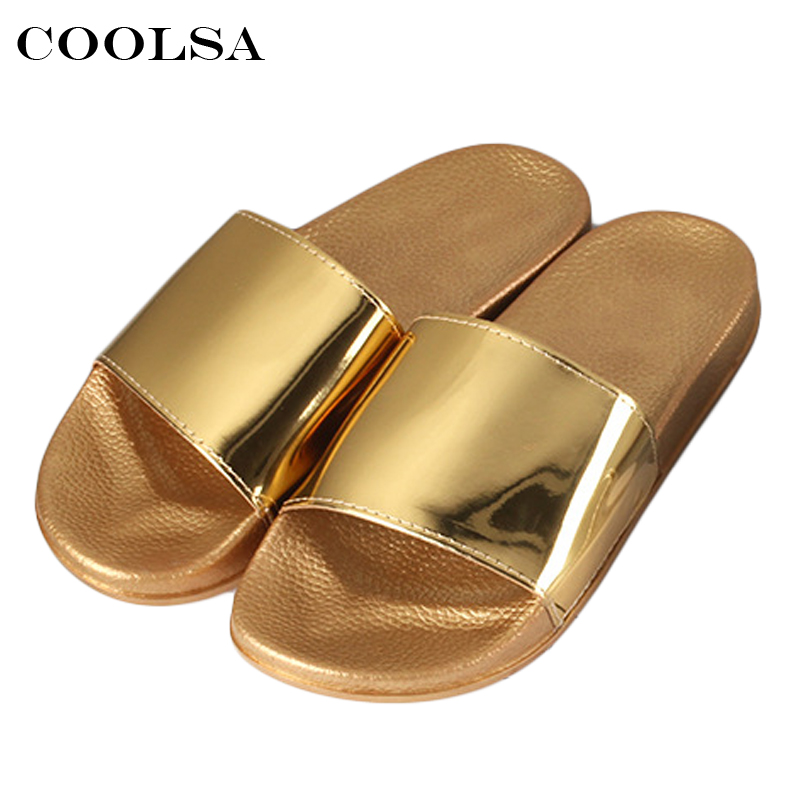 dac08ca51 Coolsa Hot Summer Women Gold Slippers Metal Bling PU Flip Flop Beach Sandals  Rubber Non Slip