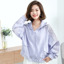 2019 Summer hooded sunscreen jacket women fashion print letter lace long sleeve jacket tops plus size casual white ladies jacket недорого