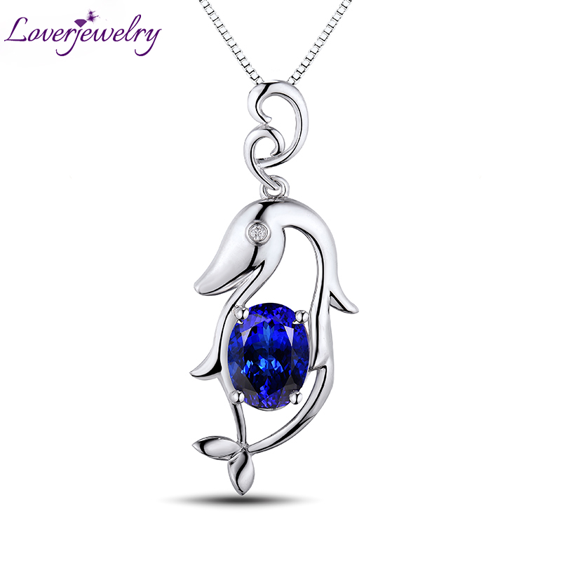 Dolphin Oval 7x9mm Solid 18Kt White Gold Diamond Tanzanite Wedding Pendant Beautiful Design Gem Jewelry for Wife Christmas WP055