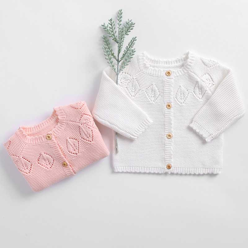 New 2019 Soft Breathable Baby Girls Jacket Autumn Long Sleeve Newborn Baby Coat Thin Knitted Outwear For Kids Clothes Tops Girls