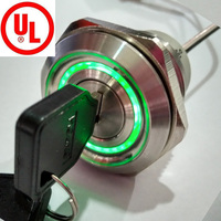 30mm 2 Position Remain Metal 6V 12V 24V 110V 220V Green illumination key lock switch with 7 keys