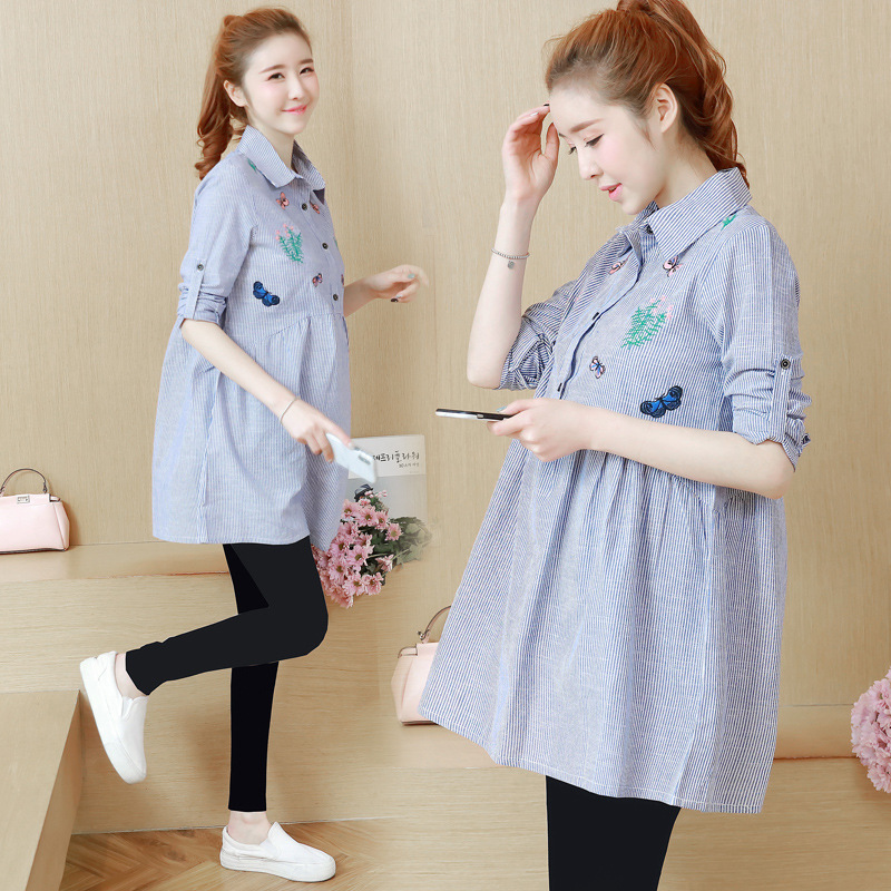 Pregnant Womens Clothing New Spring Autumn Turn Down Collar Striped Embroidery Loose Long Sleeve Blouse for Maternity Dress M46