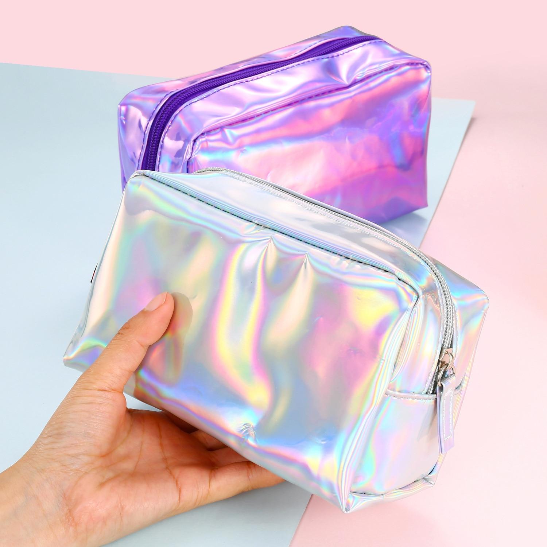 2018 New Necessaire Womens Fashion Holographic Toiletry Make up bag Cosmetic Cases PU Hand Pouch Bolsas De Maquiagem Organizer
