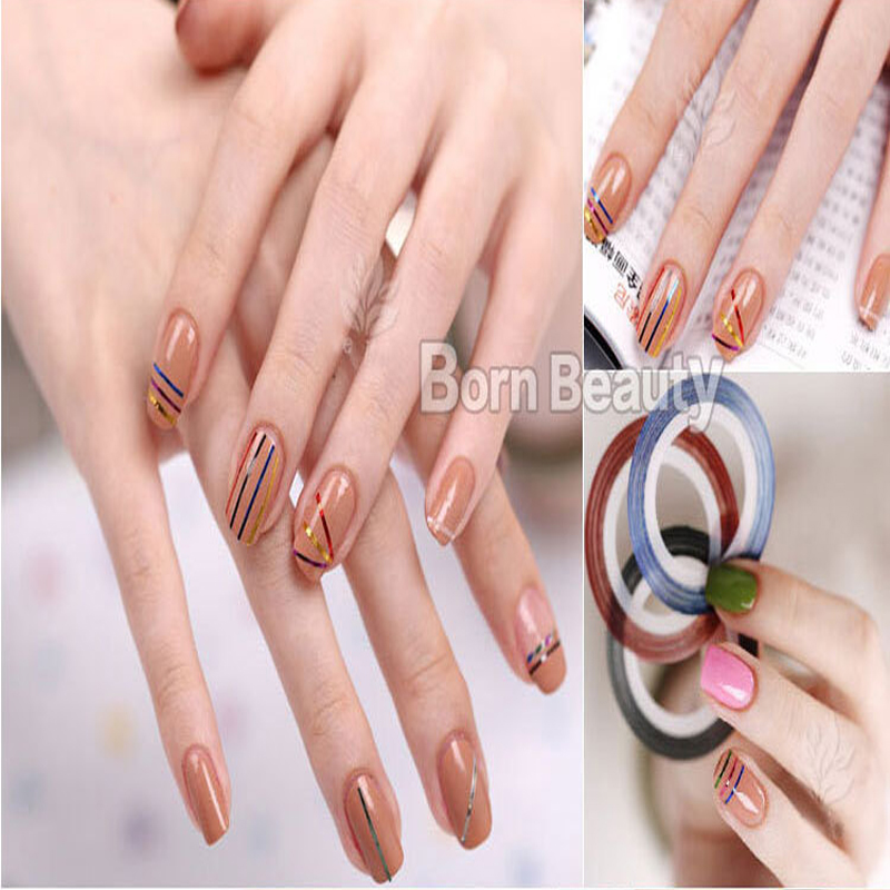 Image 5 - 10pcs/pack Mixed Colors Nail Decals Round Nair Art Decoration Creative Line Sticker Press On Nails DIY Manicure Accessories-in Stickers & Decals from Beauty & Health