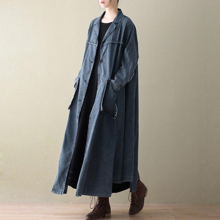 Printemps D884 Blue Grande Taille X Lâche Cowboy Manteau Trench coat Femmes souris Chauve Rétro long 2019 Manches Nouveau Pour noir Littérature Lj5Ac3R4qS