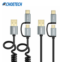 2 Pack CHOETECH 2 In 1 USB Type C Micro USB Cable 1 2M Charger Data